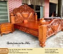 giường hoàng gia tân cổ điển gỗ gõ